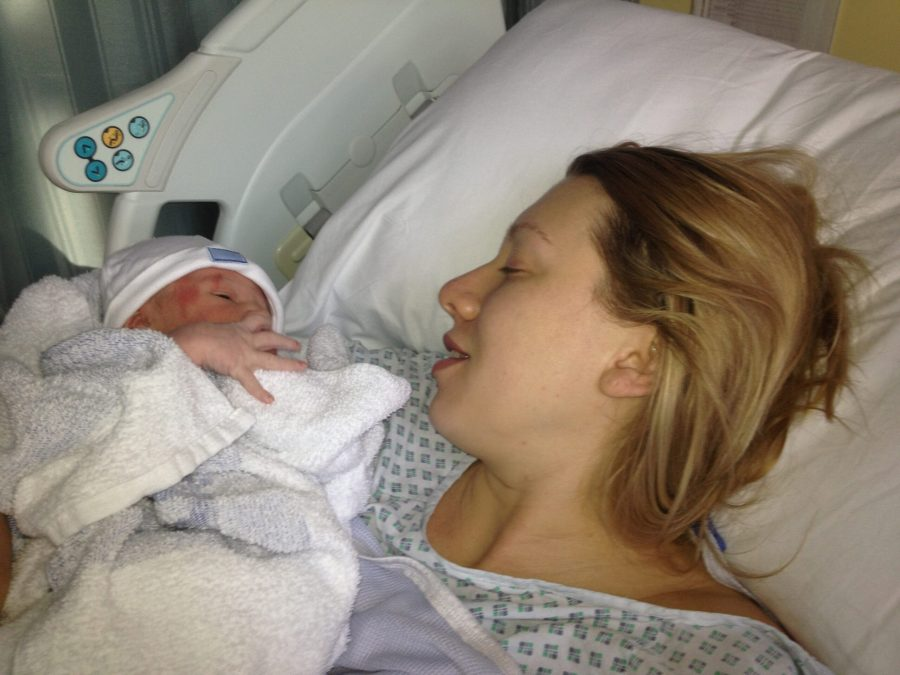 mum and baby in hospital