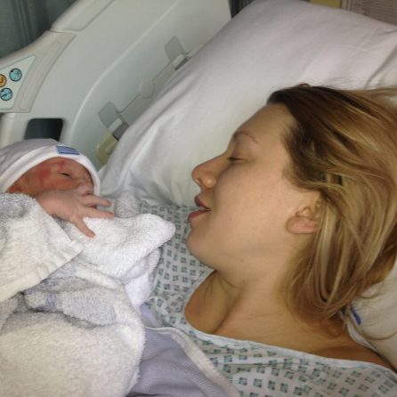 mum and baby in hospital after a c-section
