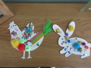 decorated chicken and rabbit