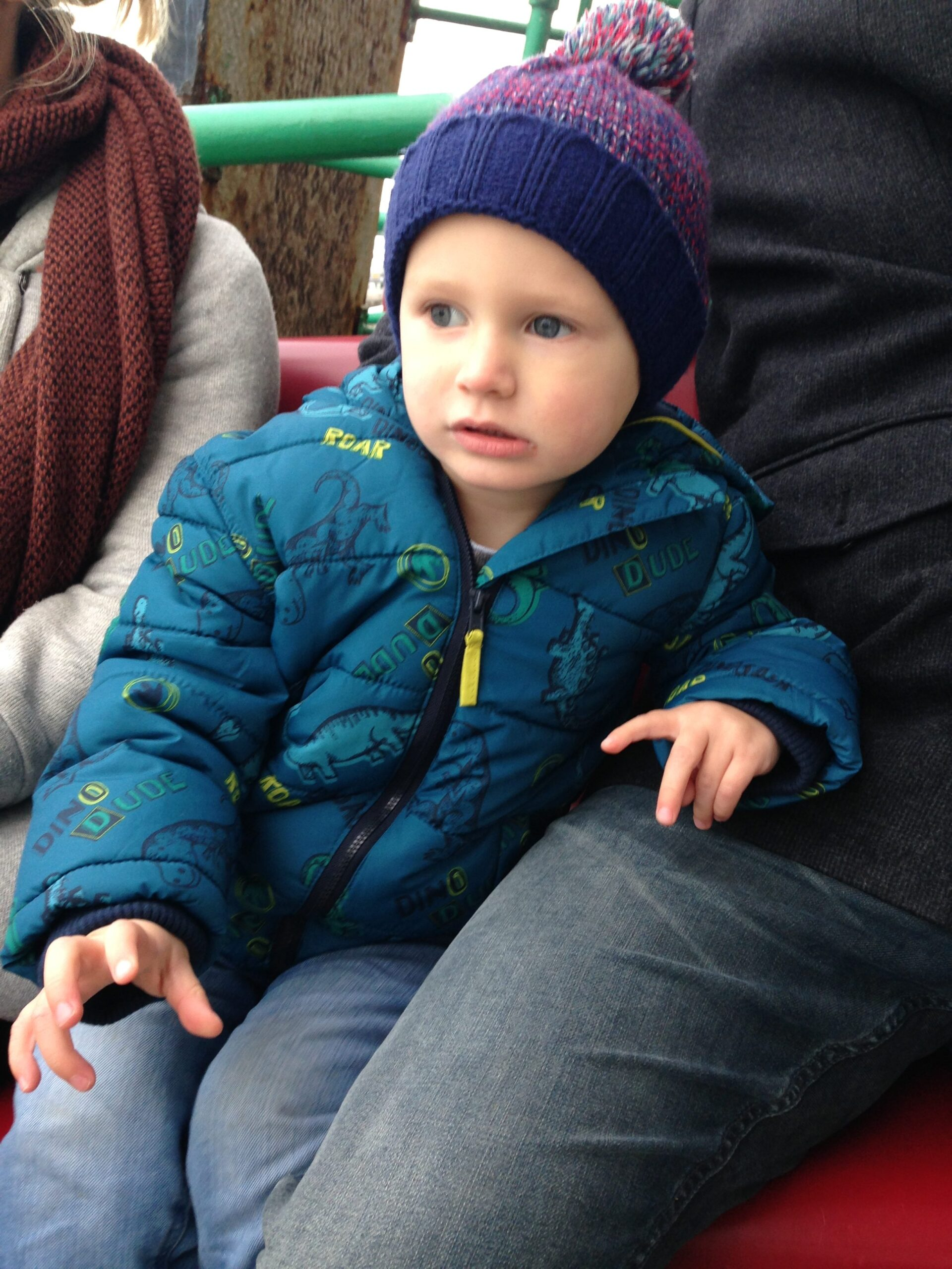Jake in a coat and bobble hat