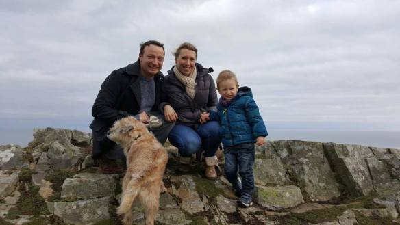 family on cliffs in Exmoor