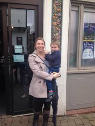 Mum and son outside theatre