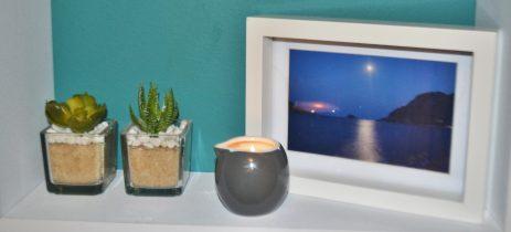 beeutiful candle on a shelf