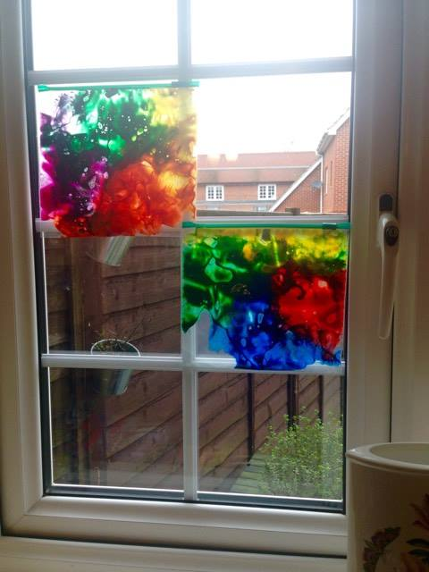 freezer bags up on a window