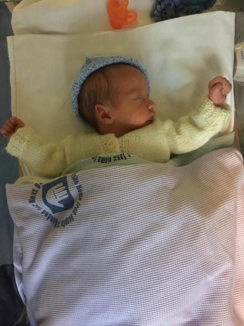 tiny baby in a hospital cot
