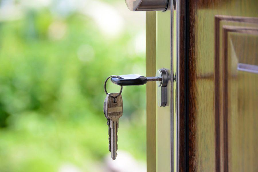 security, door with key in it