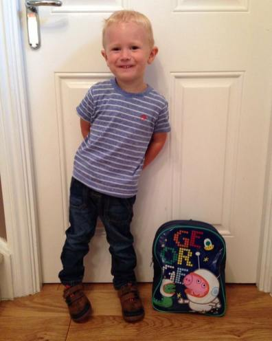 Jake stood by the front room door ready to go to pre school