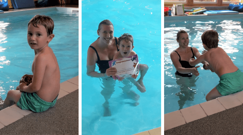 3 images of a child and Mum having swimming lessons