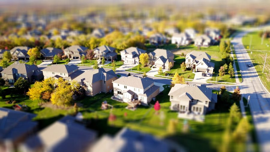 aerial shot of homes