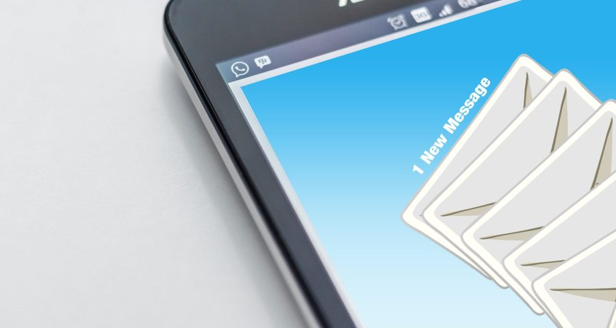 mobile phone with email open