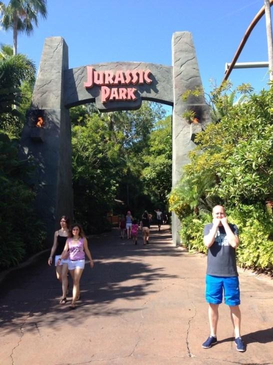 Phil stood outside Jurassic Park