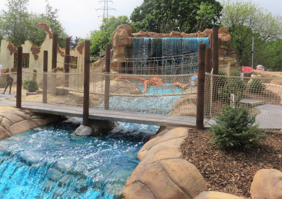 the waterfall and bridge at mighty claws adventure golf