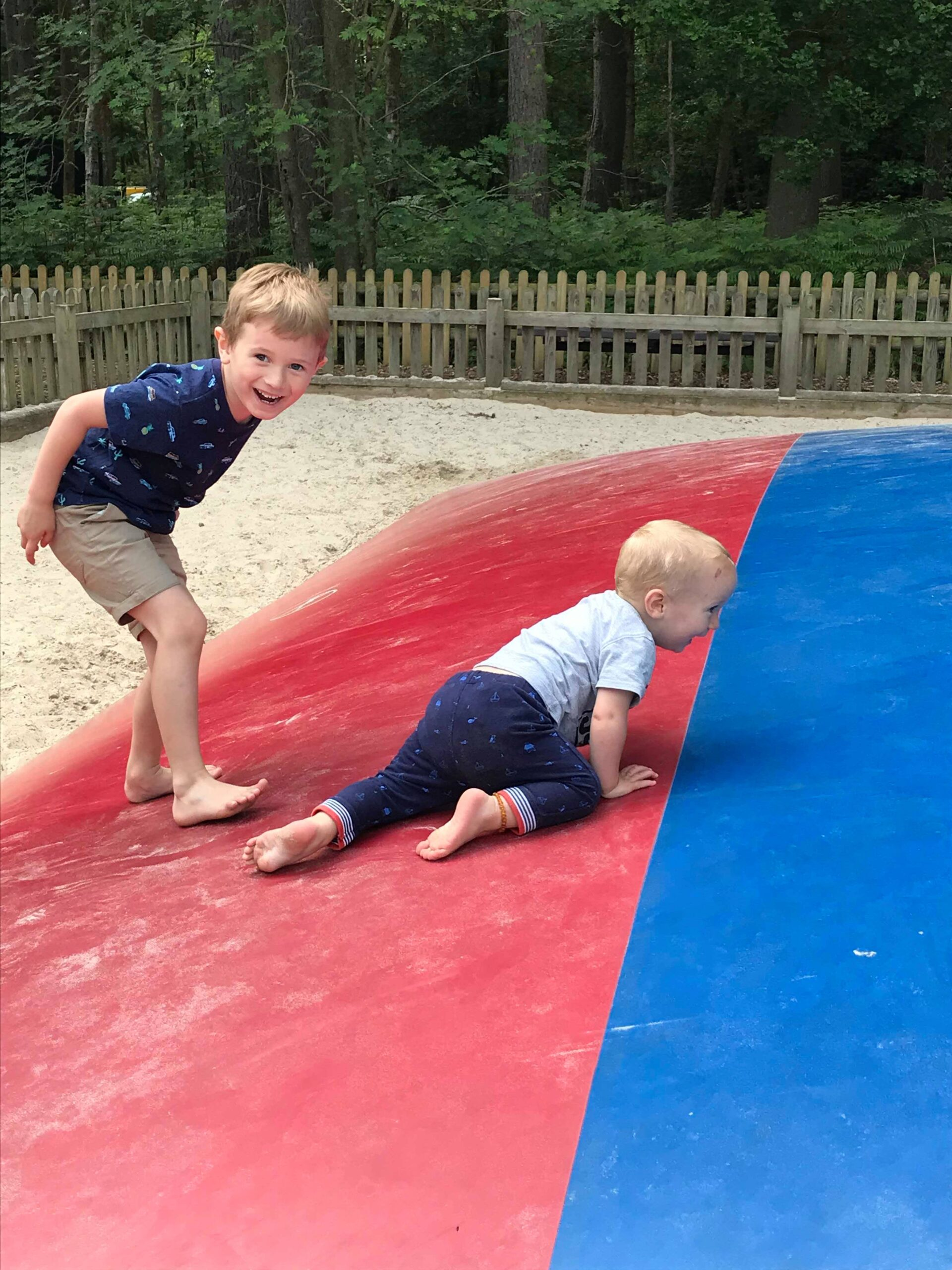 boys on the jumping pillow