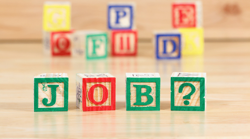 childrens blocks spelling out the word job?