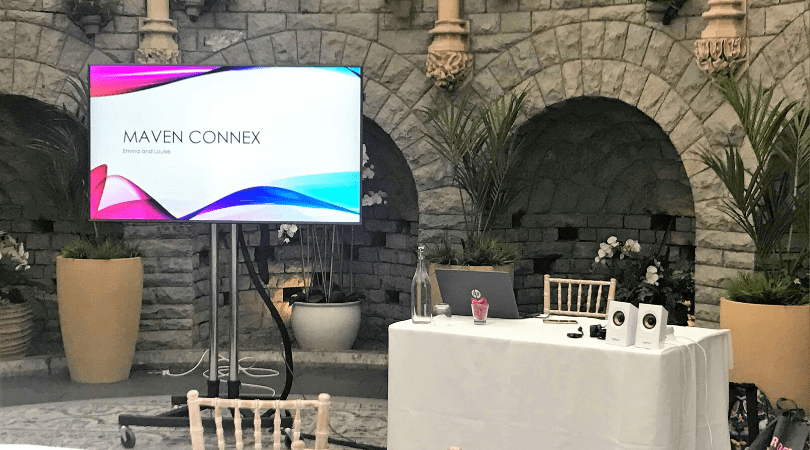 Maven Connex on a tv screen in the orangery at the de vere hotel