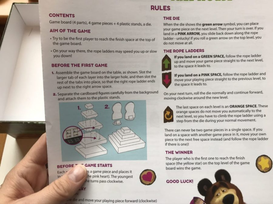 the instructions for masha and the bear game