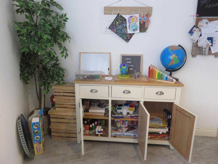the homeschooling area set up for Jake