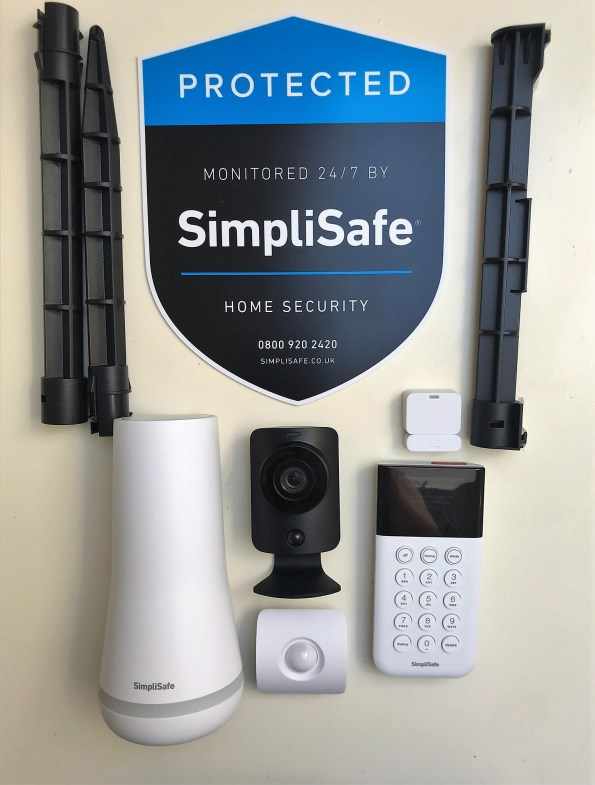 the SimpliSafe Starter kit laid out