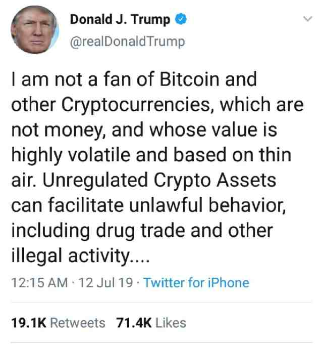 Screenshot 20190715 232411 resize 2 - Is The Recent Price Drop In Bitcoin Caused By Trump's Tweet About Crypto Currencies?