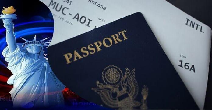 american visa lottery logo and a passport