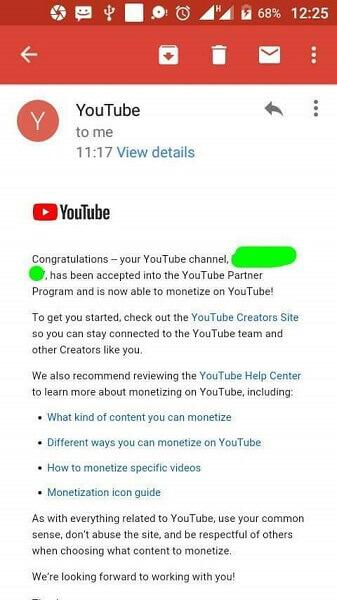 youtube monitization mail