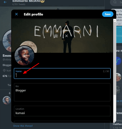 change the character on the username to make it invisible