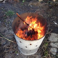 Lighting an allotment incinerator