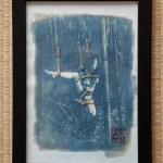 Kata-ashi dans les bambous – Tirage cyanotype et cordelette de jute – Encadré