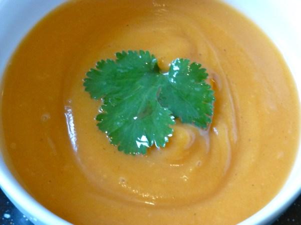 Sweet Potato and Butternut Squash Soup. V, W/f, D/f.