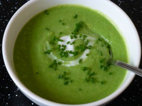 Green Pea Soup. V, W/f, D/f.