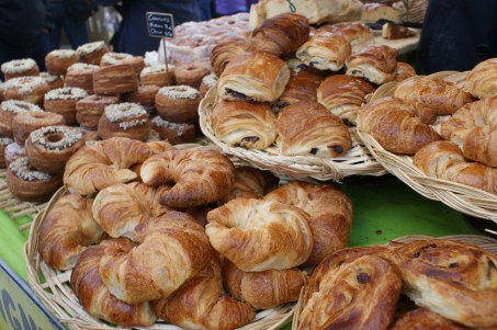 pastries at a street market along the Seine near the Eiffel Tower. the pain au chocolat was amazing.