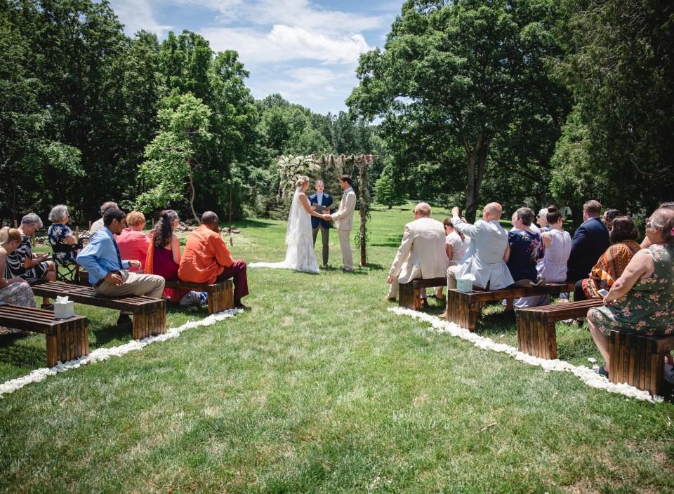 backyard micro-wedding ceremony