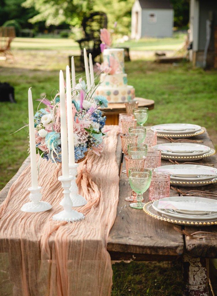 plan a backyard wedding farm table style