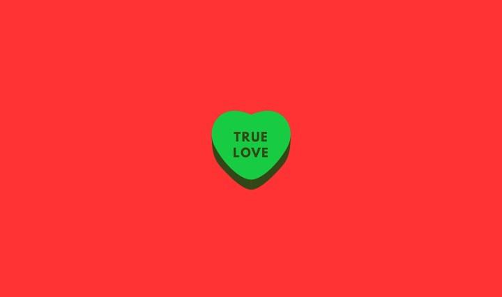 Amore vero su sfondo rosso