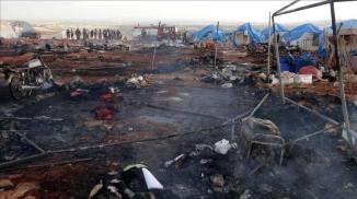 Camp de réfugiés syrien de Kamounah Près d'Idleb bombardement par le régime le 6 mai 2016