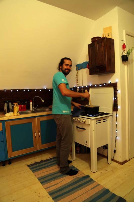 Emil makes dinner
