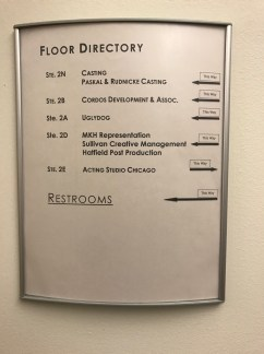 Floor Directory at 10 W. Hubbard St. in Chicago, Illinois.