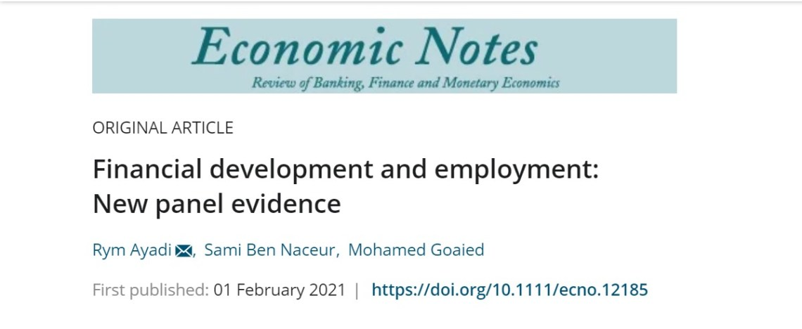"""EMNES paper """"Financial development and employment: New panel evidence"""" published by the Economic Notes"""