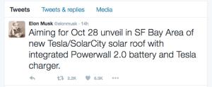 Twitter Ankündigung der Tesla Powerwall
