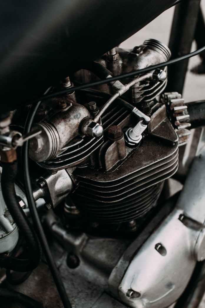 engine of retro motorcycle on street