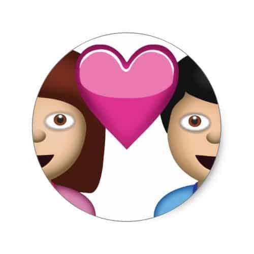 Download Couple With Heart Emoji Classic Round Sticker - EmojiPrints