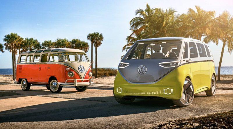 VW - I.D. Buzz und alter Bulli von vorne - Grafik oder ev. Foto - Studie