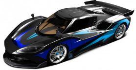 Arash AF10-Hyybrid - Elektroauto - Seite - blau metallic - von vorne oben links