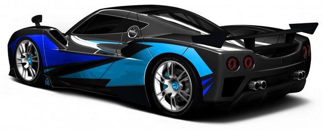 Arash AF10-Hyybrid - Elektroauto - von hinten schräg links - blau metallic - langes Bild