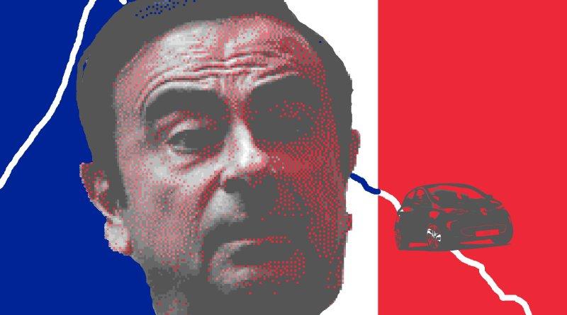 Ghosn, Carlos - schickt Renault Aktie auf Talfahrt - Grafik, Bildbearbeitung, Catlos Ghosn vor Frankreichflagge