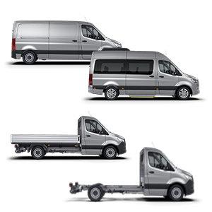 Mercedes Sprinter - Flotte,Beitragsbild. Collage von emoove - Fotos Mercedes - als JPG - 300x300