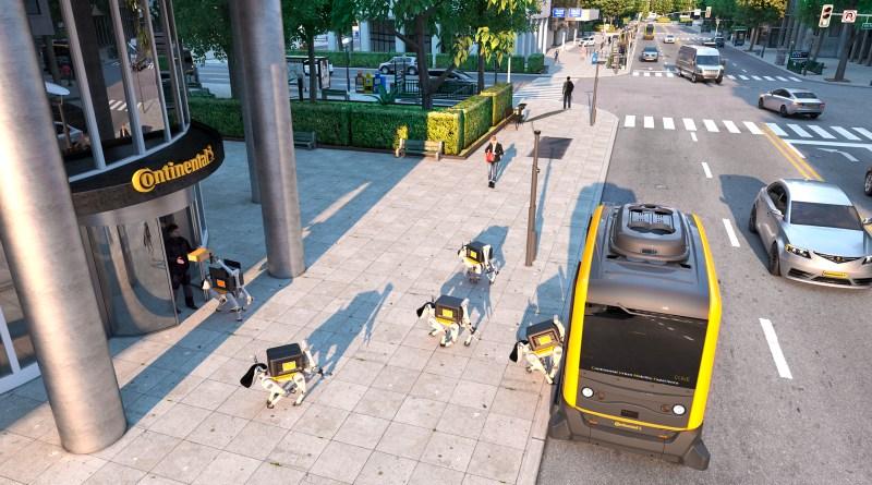Continentals Vision_Nahtlose Mobilität kombiniert autonome Shuttles mit Lieferrobotern - Robo Dogs - Bild Continental