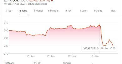 Tesla Aktie - 5 TAGE -Absturz nach Gewinnwarnung - 20.01.2019 - Google Screenshot