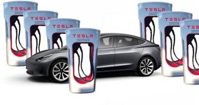 Ladesäulen Anzahl steigt - Lade Chaos bleibt - Tesla Model 3 - vor 7 x Doppel Ladesäule - Collage von emoove.net