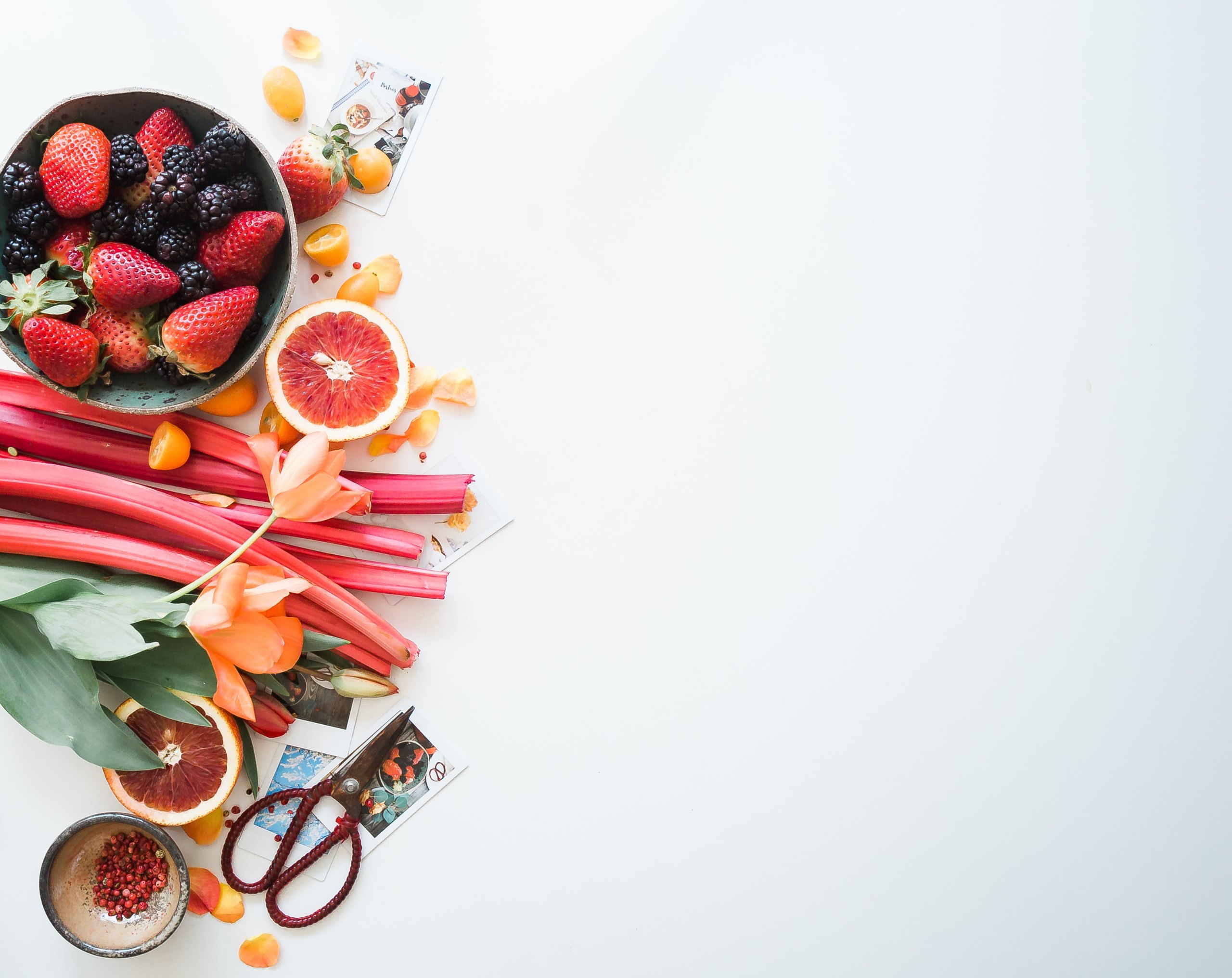 Healthy food on the left side of image